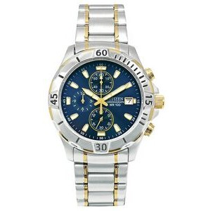 Citizen Men's Two-Tone Chronograph Bracelet Watch W/ Blue Dial from Pedre