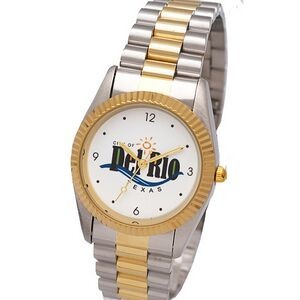 Designer Bracelet Watch with Gold Tone Brass Ring, Stainless Steel Bracelet Band with buckle closure